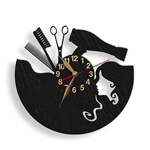 monastar Beauty Salon Wall Clock -Select Size, Personalized- Wood Big Hair Studio Ladies' Hairdresser Gift Hairstylers Hair Spa Fashion Haircut Styling Hairdressing Studio Wooden Wall Art Décor