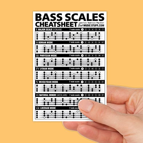 "Bass Scales Cheatsheet Laminated and Double Sided Pocket Reference 4""x6"" • Best Music Stuff"