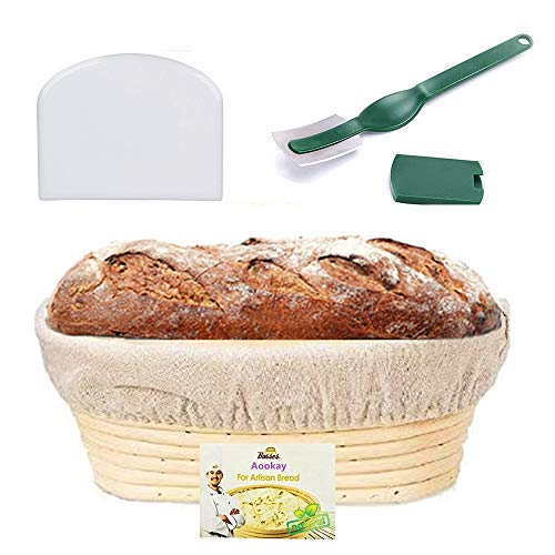 Bread Proofing Basket, Aookay Banneton Proofing Basket Oval 10'', with Linen Cloth Liner, Blades, Dough Bench Scraper for Professional & Home Bread Bakers