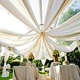 AK TRADING CO. 120' Wide (10Ft Wide) Voile Ceiling Drapes Sheer Curtain Panels with 4' Pocket for Wedding Venues, Banquet Halls, Corporate Events & Photobooth - White, 10 ft x 20 ft