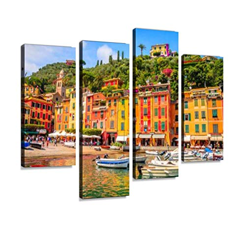 HIPOLOTUS 4 Panel Canvas Pictures Beautiful Bay with Colorful Houses in Portofino Liguria Italy Wall Art Prints Paintings Stretched & Framed Poster Home Living Room Decoration Ready to Hang