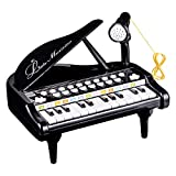 Love&Mini Toy Piano for Kids - Birthday Gift for 2 3 4 5 Year Old – Educational Piano Musical Instrument Toys - Black Keyboard for Child with Built-in Microphone 24 Keys