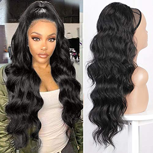 Earfodo Long Wavy Ponytail Extension for Women Drawstring Ponytail Black Color 24' Synthetic Clip in Ponytail Extension for Black Women