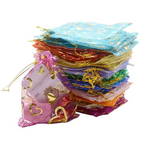 100PCS Mini Sheer Heart Mixed Organza Bags 7x9cm /2.7x3.5 inch, Drawstring Chic Gift Beauty Bags, Wedding Favor Bags Candy Jewelry Gift Bags(7x9cm Heart Mixed 100pcs)