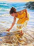 Diamante bordado chica 5D DIY recién llegado pintura de diamantes mujer completo cuadrado redondo mosaico junto al mar decoración del hogar A5 60x80cm