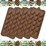 SSPECOTNR 4 stampi per uova di Pasqua in silicone, per uova di Pasqua, cioccolatini, caramelle, biscotti, caramelle, caramelle, biscotti, caramelle, cioccolato, fondente, gelatina, ecc.