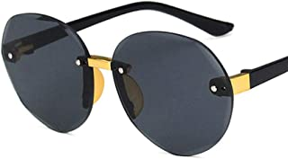 DLSM - Niño Gafas de Sol con Montura Redonda sin Montura pequeña y Redonda Niños Niños Gris Rosa Lente roja Moda Niños Niñas Protección UV400 Gafas