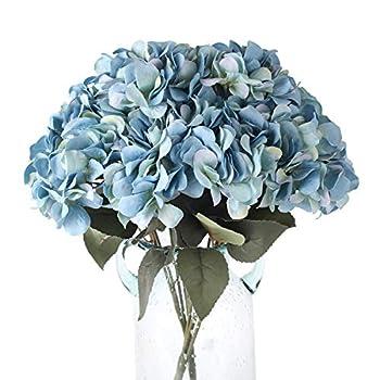 Blooming Paradise 5Heads Artificial Fake Flower Plants Silk Hydrangea Arrangements Wedding Bouquets Decoration Plastic Home Kitchen Garden Party Table Floral centerpieces DIY Dark Blue