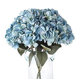 Blooming Paradise 5Heads Artificial Fake Flower Plants Silk Hydrangea Arrangements Wedding Bouquets Decoration Plastic Home Kitchen Garden Party Table Floral centerpieces DIY(Dark Blue)