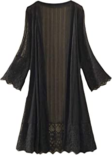 FSSE Women's Lightweight Long Sleeve Lace See-Through Mid Length Cardigan Coat