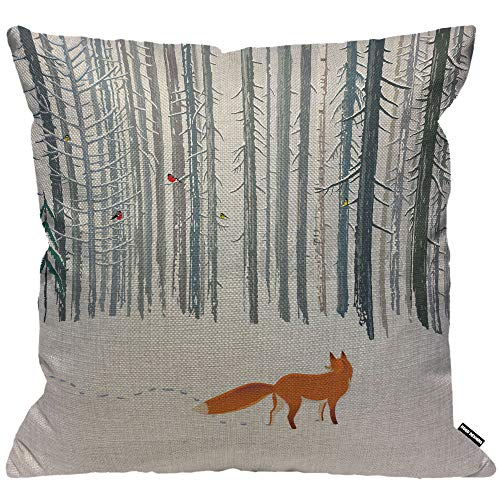HGOD DESIGNS Cushion Cover Fox Walk on Winter Forest Landscape,Throw Pillow Case Home Decorative for Men/Women Living Room Bedroom Sofa Chair 18X18 Inch Pillowcase 45X45cm