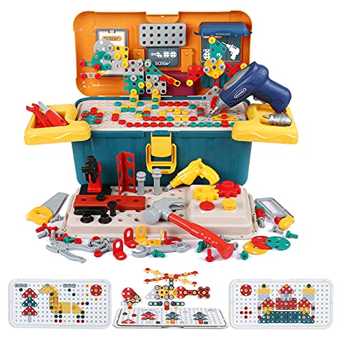 LIHAO Juguetes Montessori Puzzle 3D Juguetes Mosaico Infantil Taladro Juguetes Puzzles Rompecabezas Bloques Construccion con Taladro Tornillo con Caja de Bloque Juguete Educativo Regalo para Niños