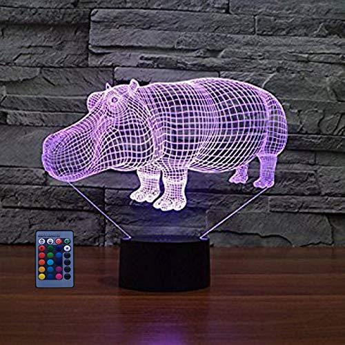 3D Nilpferd Lampe Nachtlicht Fernbedienung USB Power 7/16 Farben 3D LED Lampe Formen Kinder Schlafzimmer Geburtstag Weihnachten Geschenke