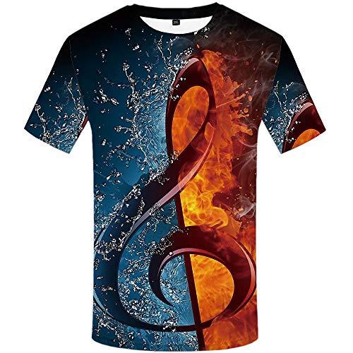 YAMAO Rundhals T- Shirt Homme,Sport, T-Shirt décontracté Respirant à Manches Courtes et col Rond imprimé 3D pour Hommes