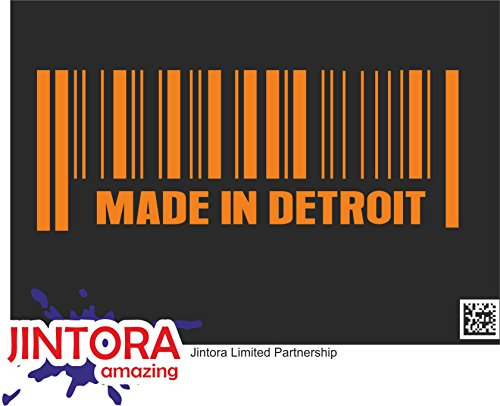 JINTORA Etiqueta para el Coche/Etiqueta engomada - Hecho en Detroit - 210x80 mm - JDM/Die Cut - Coche/Ventana / Laptop/Ventana - Naranja