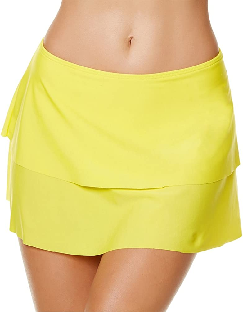LOKTARC Womens Skirted Bikini Bottom Solid Layered Swim Skirt with Panty