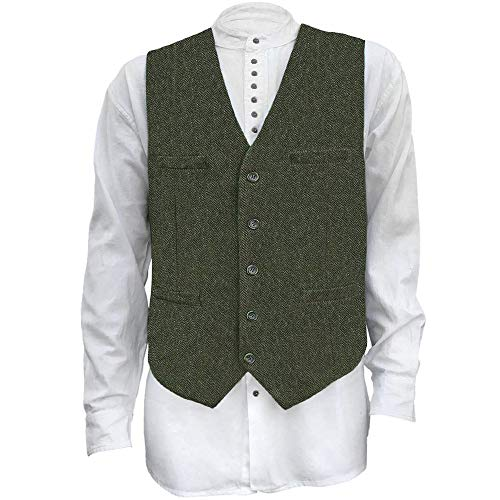 The Celtic Ranch Men's Blended-Wool Tweed Vest, Full Back with Fabric Belt, 4 Pockets, Herringbone Pattern, Olive (XXX-Large)