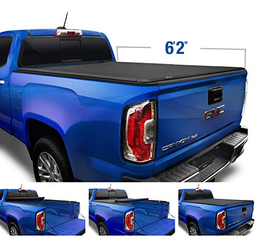 "Tyger Auto T1 Soft Roll Up Truck Bed Tonneau Cover for 2015-2018 Chevy Colorado / GMC Canyon Fleetside 6'2"" Bed TG-BC1C9013, Black"