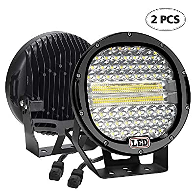LED Light Bar,2PCS BEAMCORN 9 inch 384W Flood Spot Combo Led Round Driving Lights Headlamp Headlight Off Road Lights for Jeep Wrangler Truck SUV Tractor Trailer ATV 4X4 Black