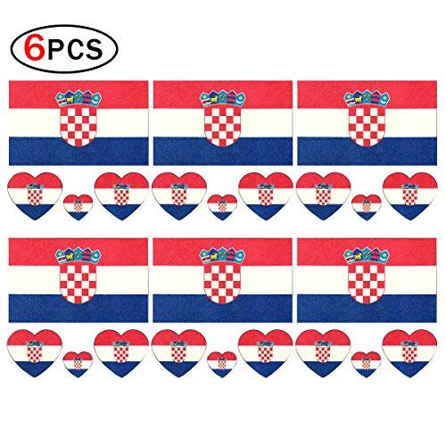 CDKJ 6 x Fahne Tattoo Kroatien Fußball Fans Flagge Aufkleber Sticker