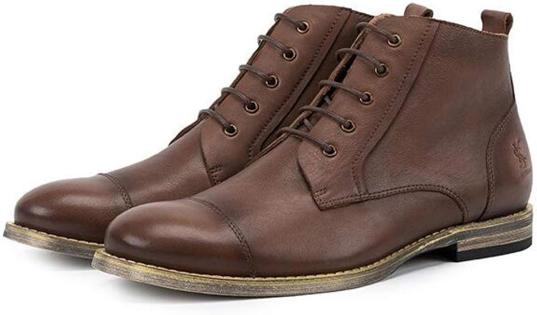 Alaeo Alaeo Echtes Leder Martin Stiefel für Herren Stiefeletten Hohe Oberteile Schnürstiefeletten Desert Chelsea Stiefel Work Chukka Footwear