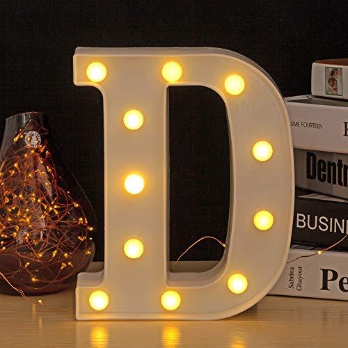 Ahat Recién actualizado LED Marquee Luces de letras Alfabeto Número Light Up Sign con control remoto (D)