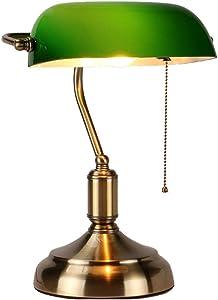 Banker Tischlampe, Retro Home Classic Grün Bankers Tischleuchte Nachttischlampen Büro Schreibtischlampe mit Glasschirm und Messing Sockel E27 Lampenkopf (Nicht im Lieferumfang enthalten Lichtquelle)