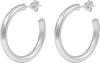Pernille Corydon Women's Creole Earrings Beta Hoops - 3.5 cm - Matte Surface - 925 Silver - E195s