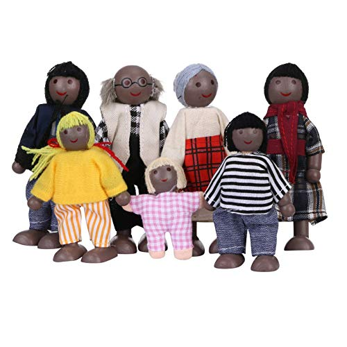 IHEHUA Lovely Happy African 7 People Black Family Dolls Playset Wooden Mini...