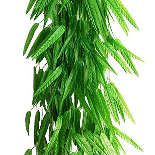 Artfen Fake Green Willow Rattan 71 Inch 10 Pcs Artificial Green Bamboo Leaves Artificial Greenery Lvy Vine Leaves Artificial Flower Garland for Home Hotel Office Wedding Party Garden Decor