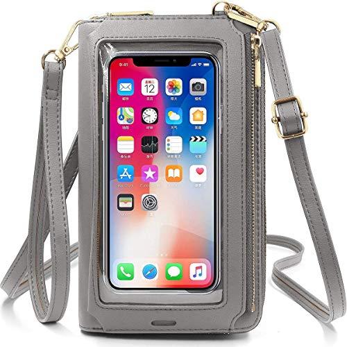 Bolso bandolera para mujer, (versión 2021), para pantalla táctil, piel, para teléfono móvil de menos de 6,5 pulgadas