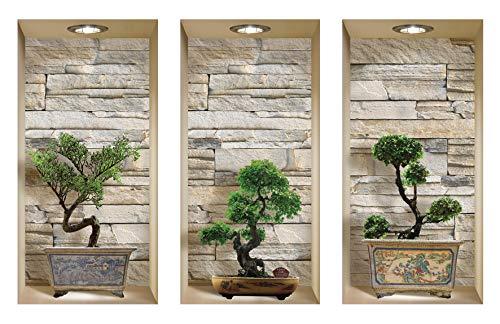 DIY Pegatinas Etiquetas para Pared Desmontables de Vinilo 3D Arte Mágico de Nisha, Bonsai de piedras