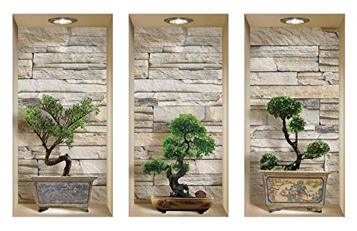 The Nisha 3 PC Pack Art Magic Peel and Stick 3D Vinyl Removable Wall Sticker Decals DIY Sticky Backsplash, Stones Stones Bonsai 922N-S3