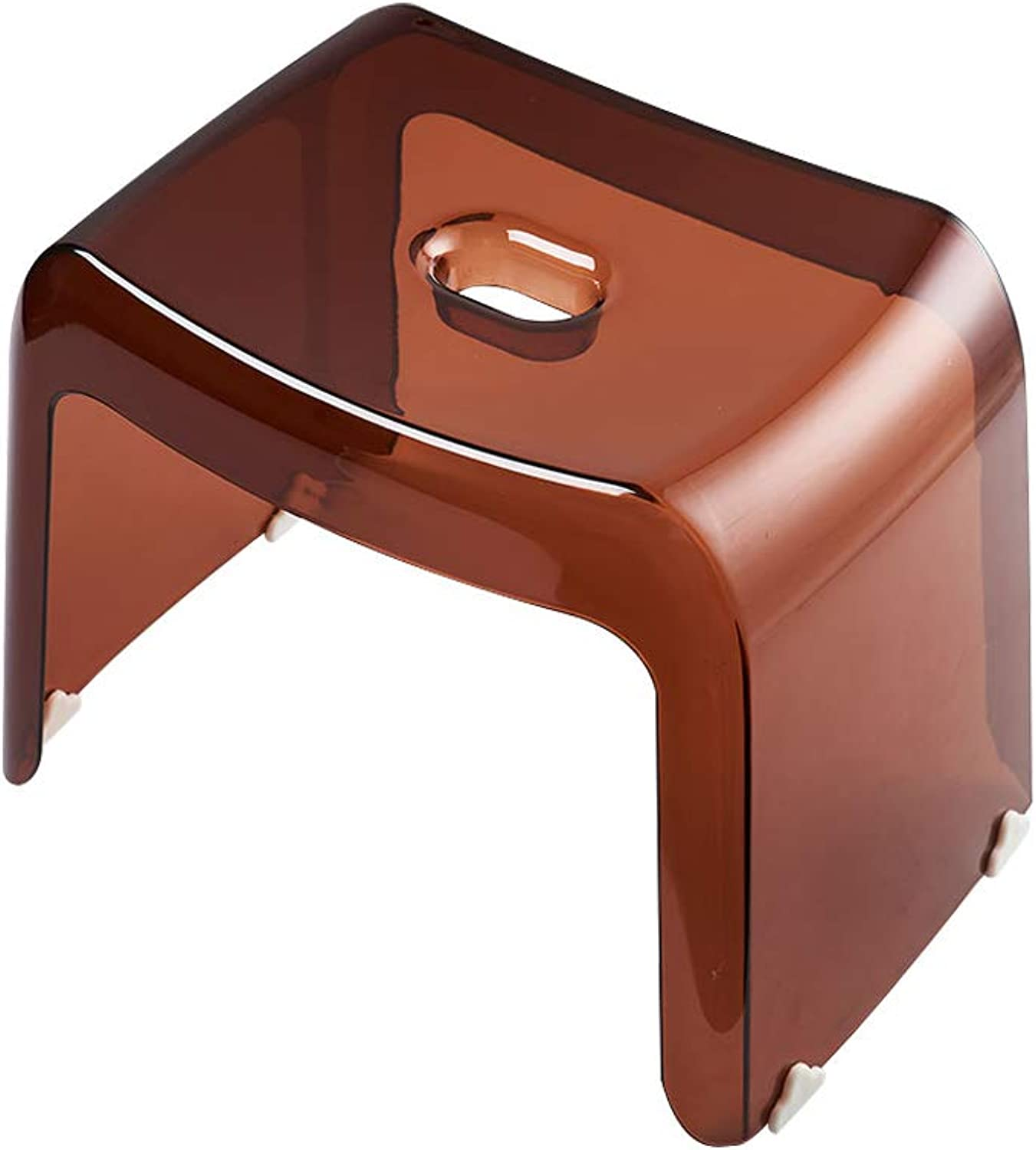 Foot Stool for Baby Kids Training Wash Hands Transparent Plastic Small Seat Non Slip Bathroom Living Room Use (color   Brown, Size   L)