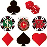 Blulu 40 Recortes de Fiestas en Casinos Recortes de Decoración de Fiesta de Cumpleaños de Póker de Tema de Casino de Las Vegas Versátil con Puntos de Pegamento, 5,9 x 5,9 Pulgadas