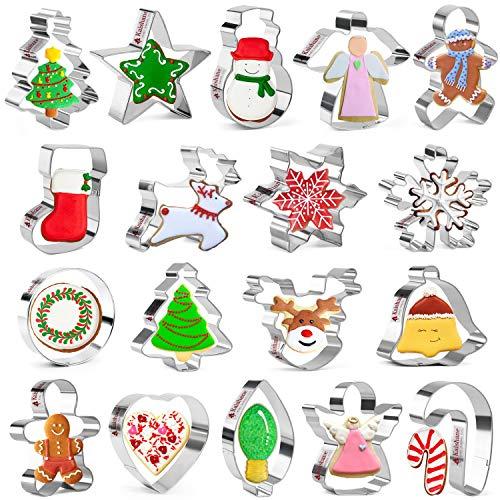 KAISHANE Juego de 18 cortadores de galletas de Navidad, copos de nieve, árbol de Navidad, hombre de jengibre, ángel de reno, muñeco de nieve, medias y más
