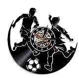 Mzjiaqir Play Football Football Sport Led Silhouette Black Hanging Vinyl Record Reloj de Pared Modern Outdoor Sport Cambio de Color Reloj