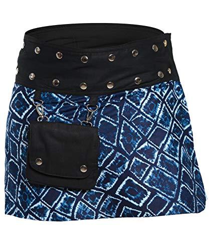 Damen Minirock aus Indien mit Tasche und 2 Mustern zum Wenden, Sommerrock kurz, Wenderock, Wickelrock Goa Gypsy Hüftschmeichler Rock - mit 18 Nieten Druckknöpfen, flexibel, Indigo