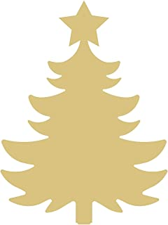 Tree Cutout Unfinished Wood Christmas Tree with Star Holiday Door Hanger MDF Shape Canvas Style 7