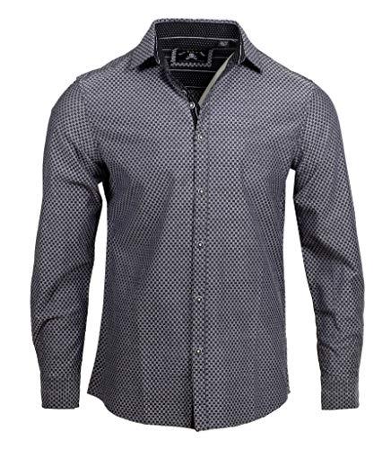 Rock Roll n Soul Men's 'Ching-a-Ling' Long Sleeve Button Down Black Checkered Casual Dress Shirt 337B (Large)