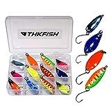 THKFISH 12 Pezzi Cucchiaino Esca da Pesca Esche Artificiali Spinning Pesca Cucchiaini Jig per Trota Lago