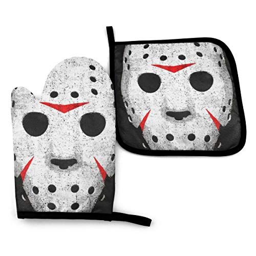 VGFJHNDF Horror Skull Oven Mitts and Pot Holders,Resistant Hot Pads with Polyester Non-Slip BBQ Gloves for Kitchen,Cooking,Baking,Grilling