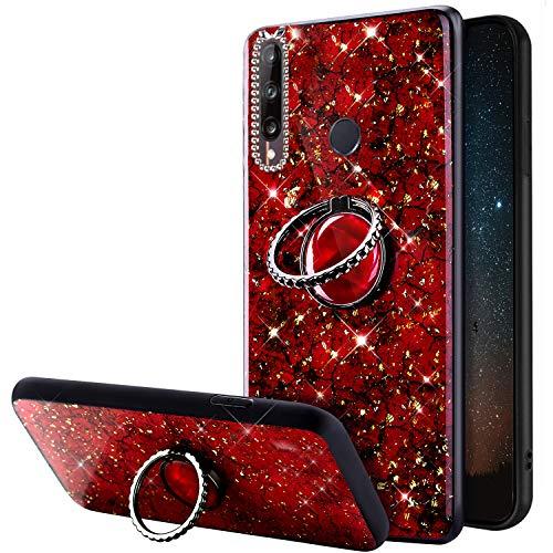 URFEDA Compatible con Huawei P40 Lite E Funda con Anillo PC Dura Case Glitter Bling Marmol Funda Cover con Soporte Ring Kickstand de 360 Grados Carcasa Diamante Brillante Bumper Protector Funda Rojo