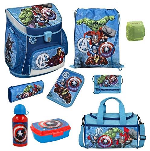 Familando Avengers Schulranzen-Set 9tlg. Scooli Campus Fit mit Dose/Flasche Sporttasche und Regenschutz