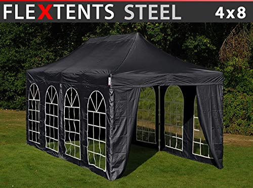 Dancover Vouwtent/Easy up tent FleXtents Steel 4x8m Zwart, inkl. 4 zijwanden