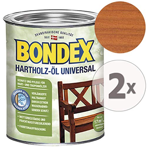 Gardopia Sparpaket: Bondex Hartholz-Öl Universal meranti Farbton 7068, UV-Schutz, Pflege & Farbauffrischer, 2 x 750 ml