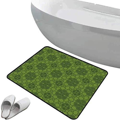 Tapis de bain antidérapant Paillasson sauge sol antidérapant en caoutchouc Old Fashioned Pattern avec décor géométrique Mandala inspiré de fleurs décoratives,vert fougère vert olive,Intérieur/Extérieu
