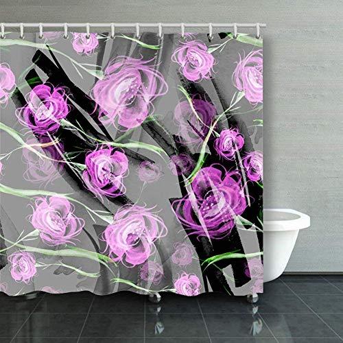 BGNHG Cortina de la Ducha Shower Curtain Watercolor Vintage Seamless P