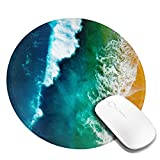 Turquoise Blue Sea Wave Beach Ocean Mouse Pad Round Small Glorious Mousepad Personalized Aqua Tropical Theme Pads Office Home Desk Decor Mat for Computer Laptop Travel Portable
