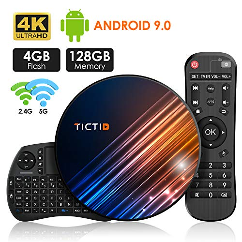Android 9.0 TV Box 【4G+128G】con Mini Teclado inalámbirco RK3318 Quad-Core 64bit Android TV Box, Wi-Fi-Dual 5G/2.4G, BT 4.0, 4K*2K UHD H.265, USB 3.0 Smart TV Box